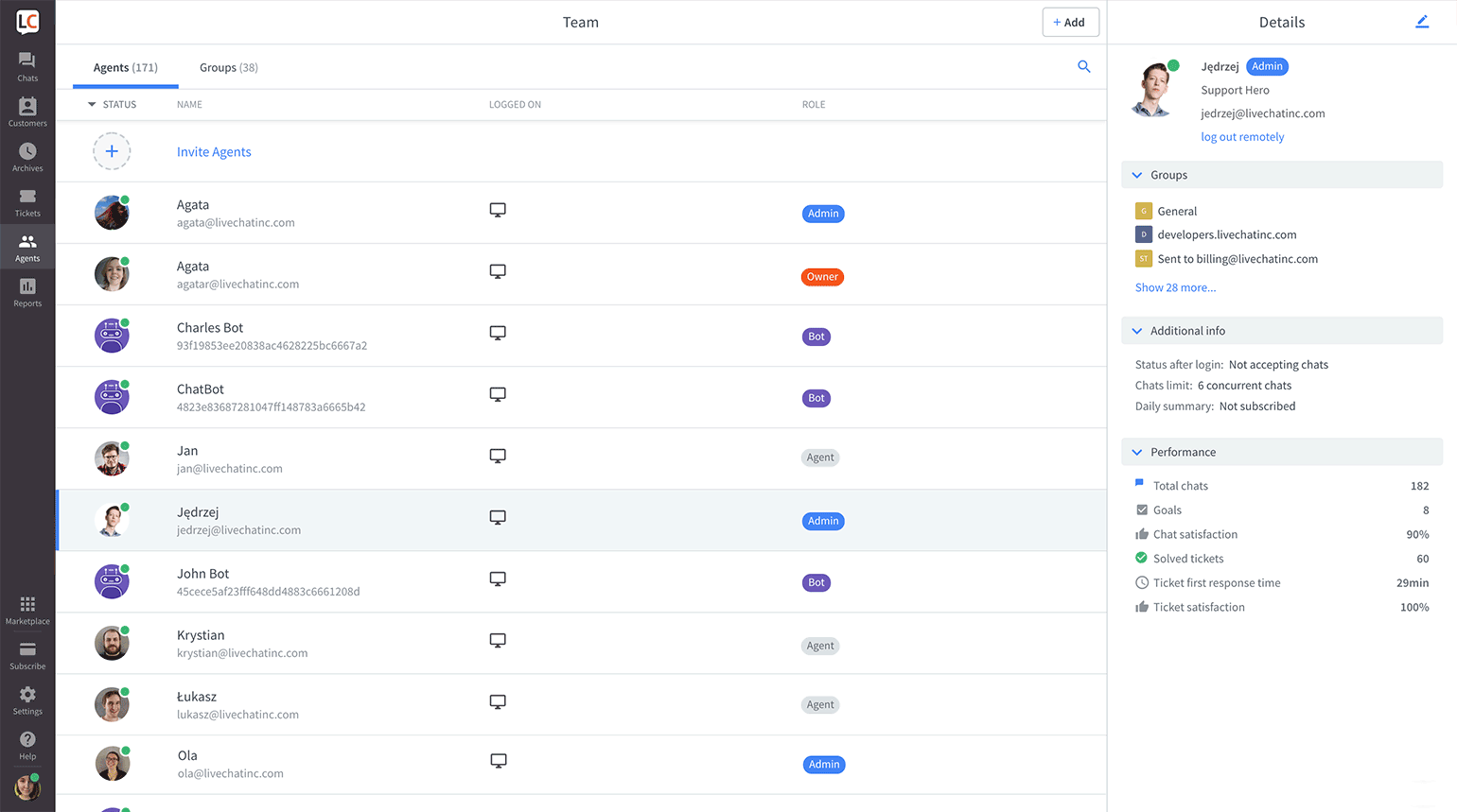 Add teammates to LiveChat