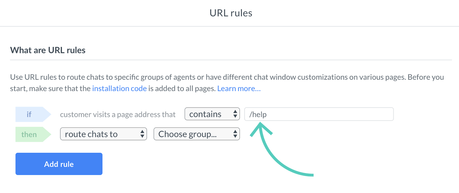 Assign a website address to a url rule