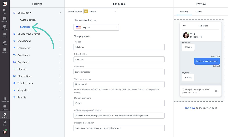 Change chat widget language