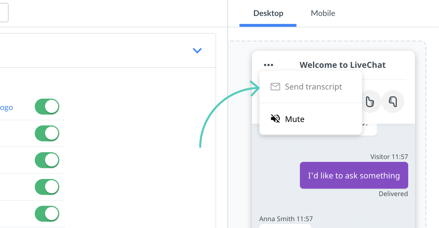 Chat widget configurator: Send transcript