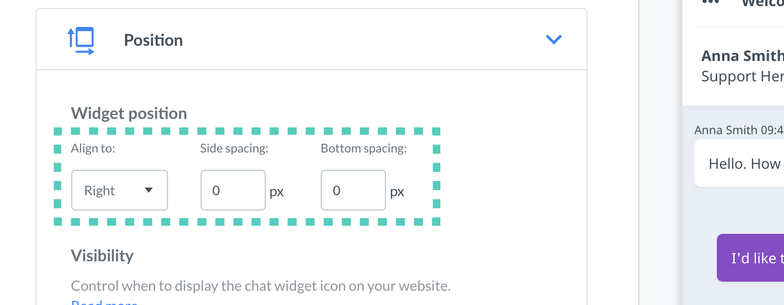 Chat widget configurator Set widgets position