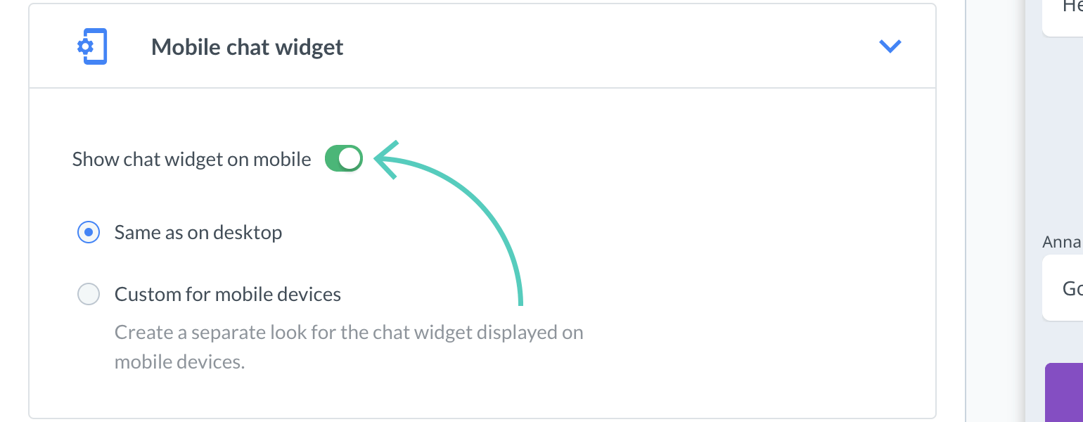 Chat widget configurator: show/hide chat widget on mobile