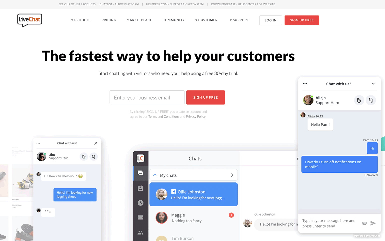 free customer service chat for website