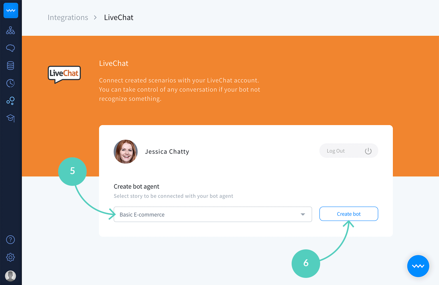 Create a bot for your LiveChat with ChatBot integration
