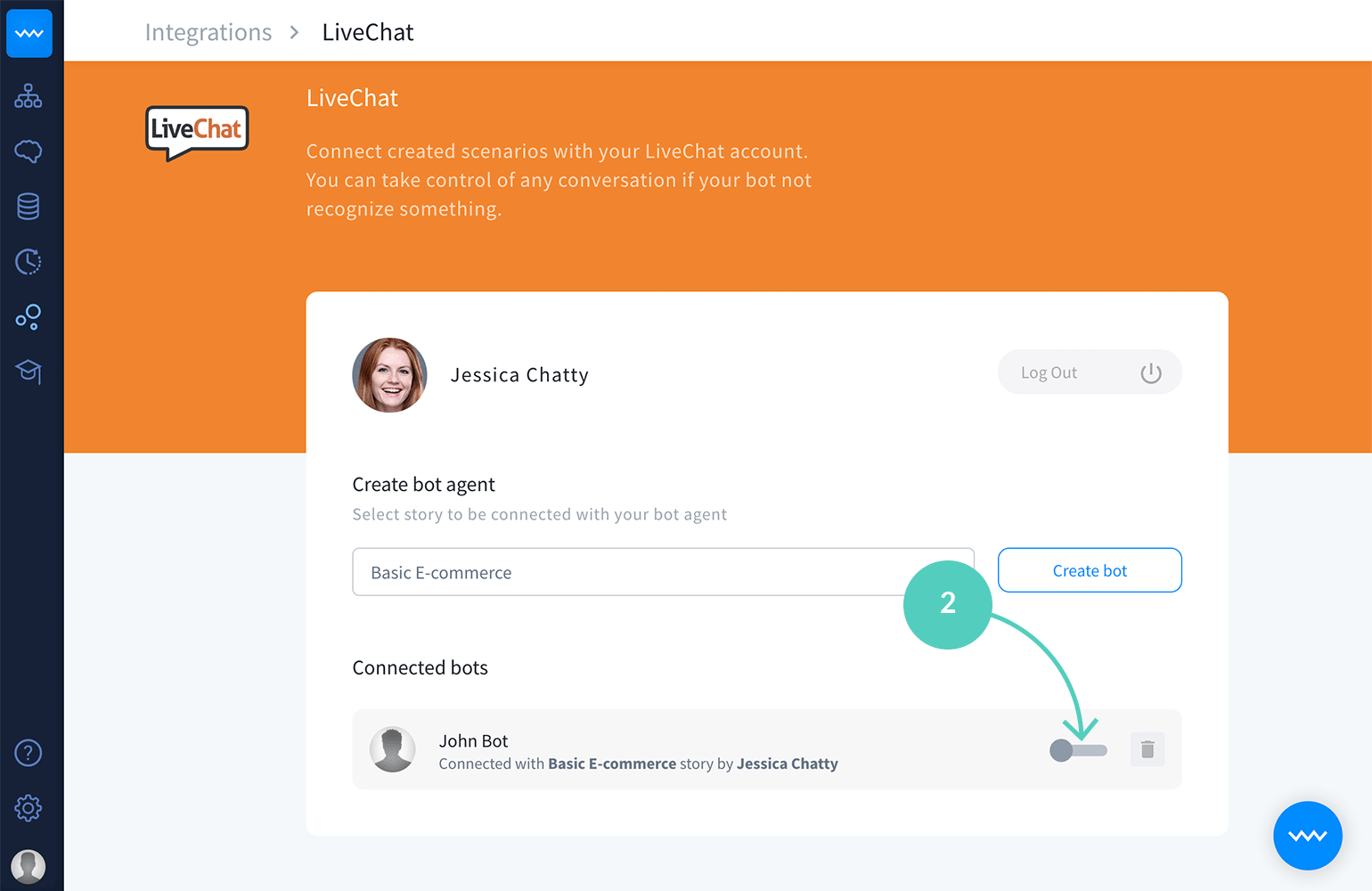 Chatbot LiveChat Integration: Turn off the toggle button to disconnect a bot