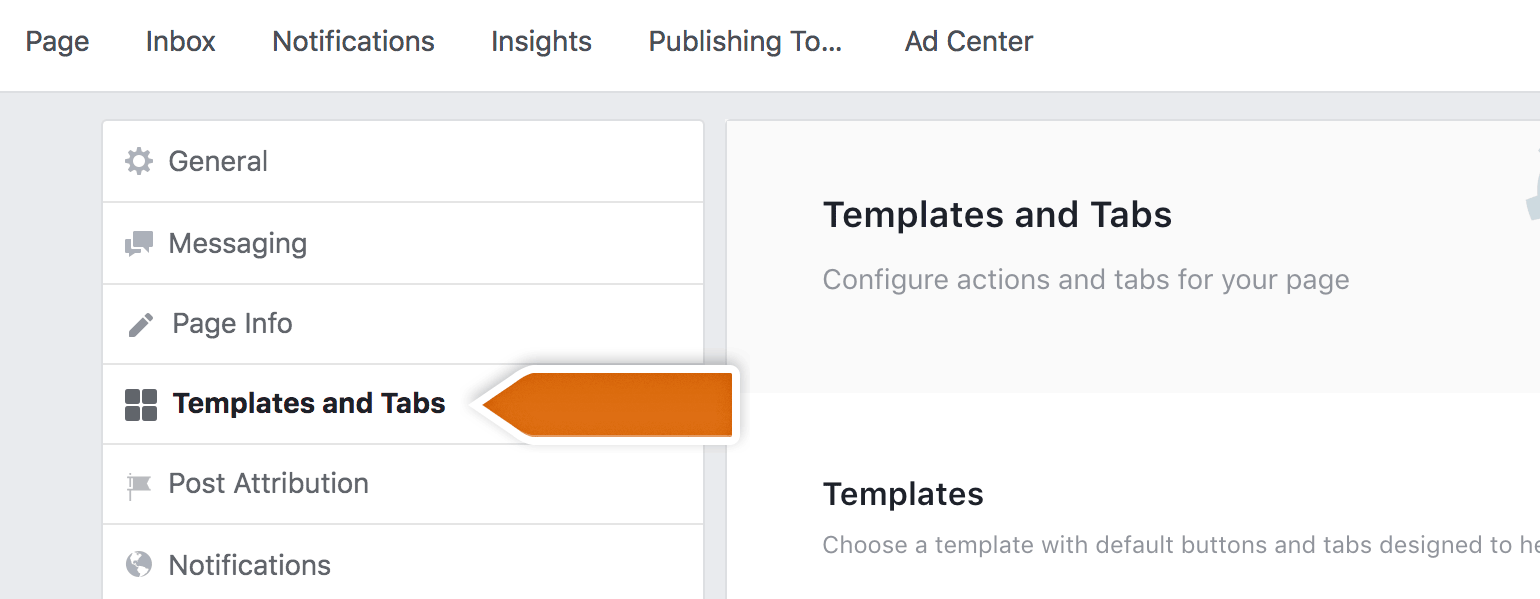 Choose templates and tabs form the list of settings
