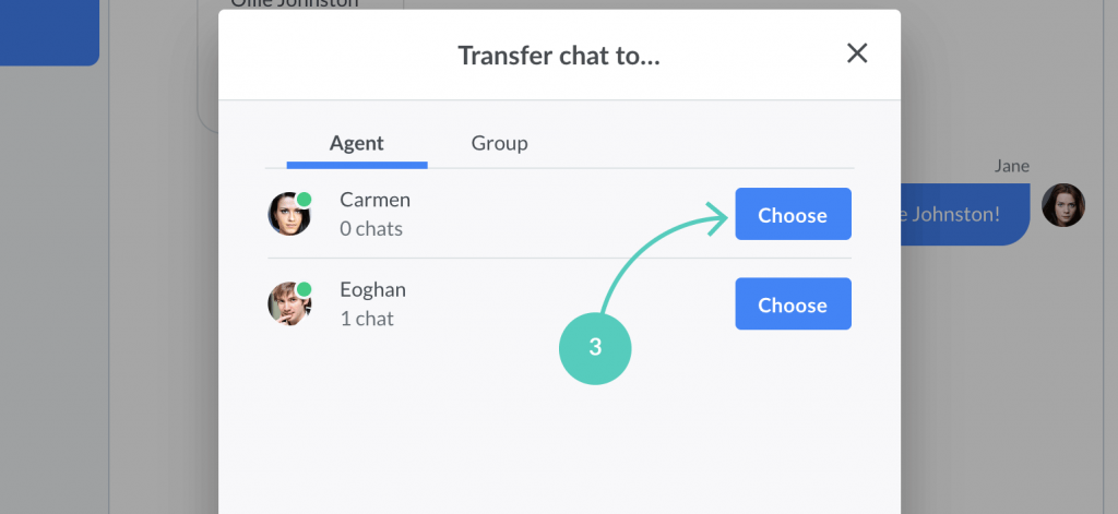Click on choose to transfer chat to the selected agent