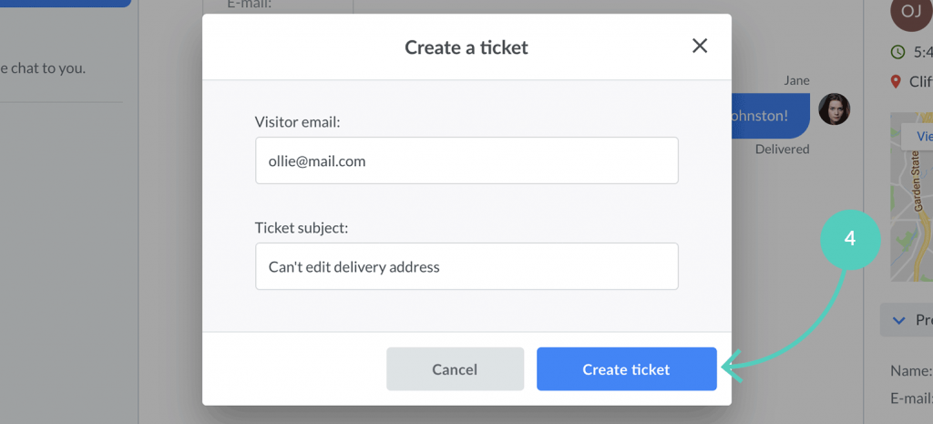 Click on create ticket