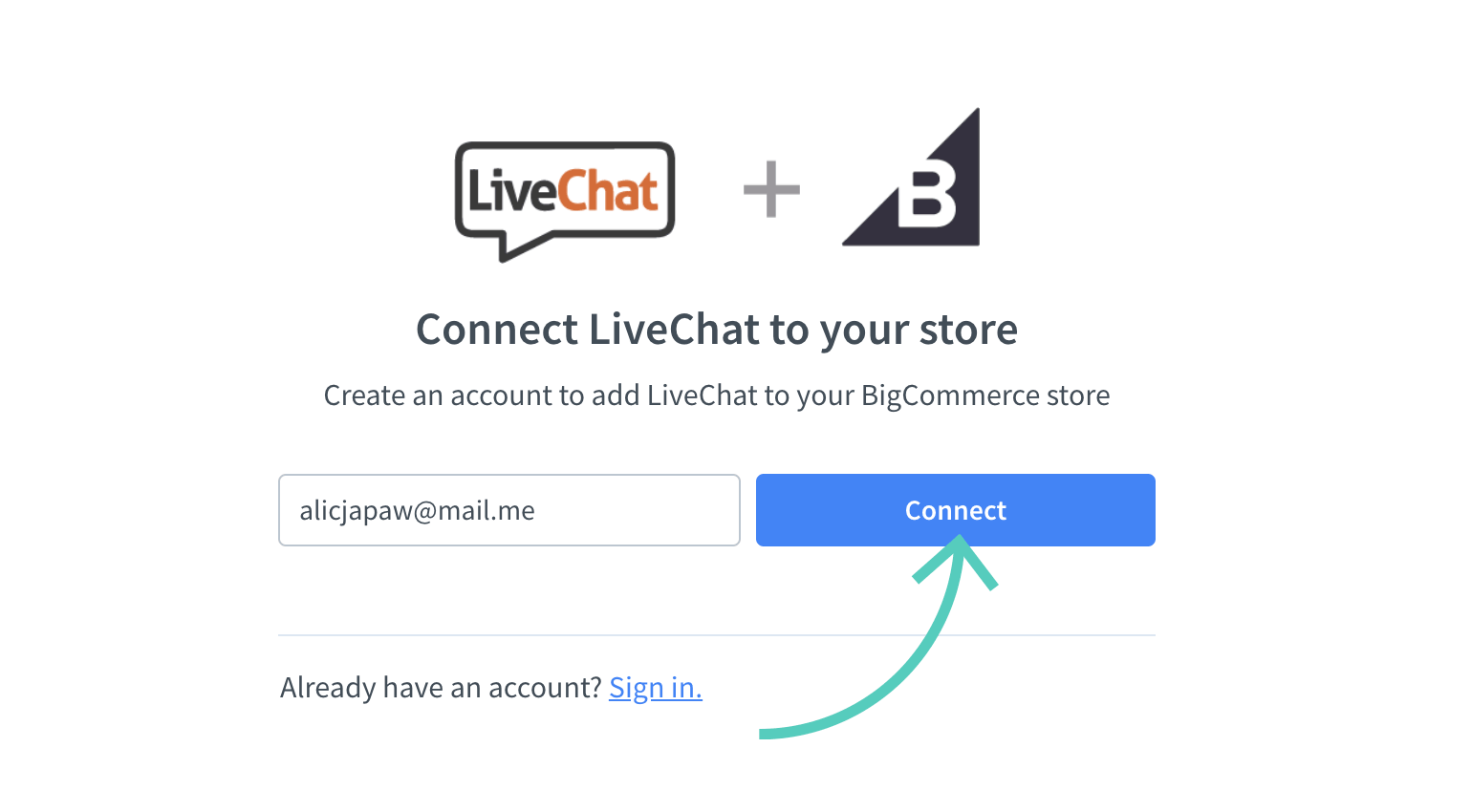 Connect LiveChat account to BigCommerce