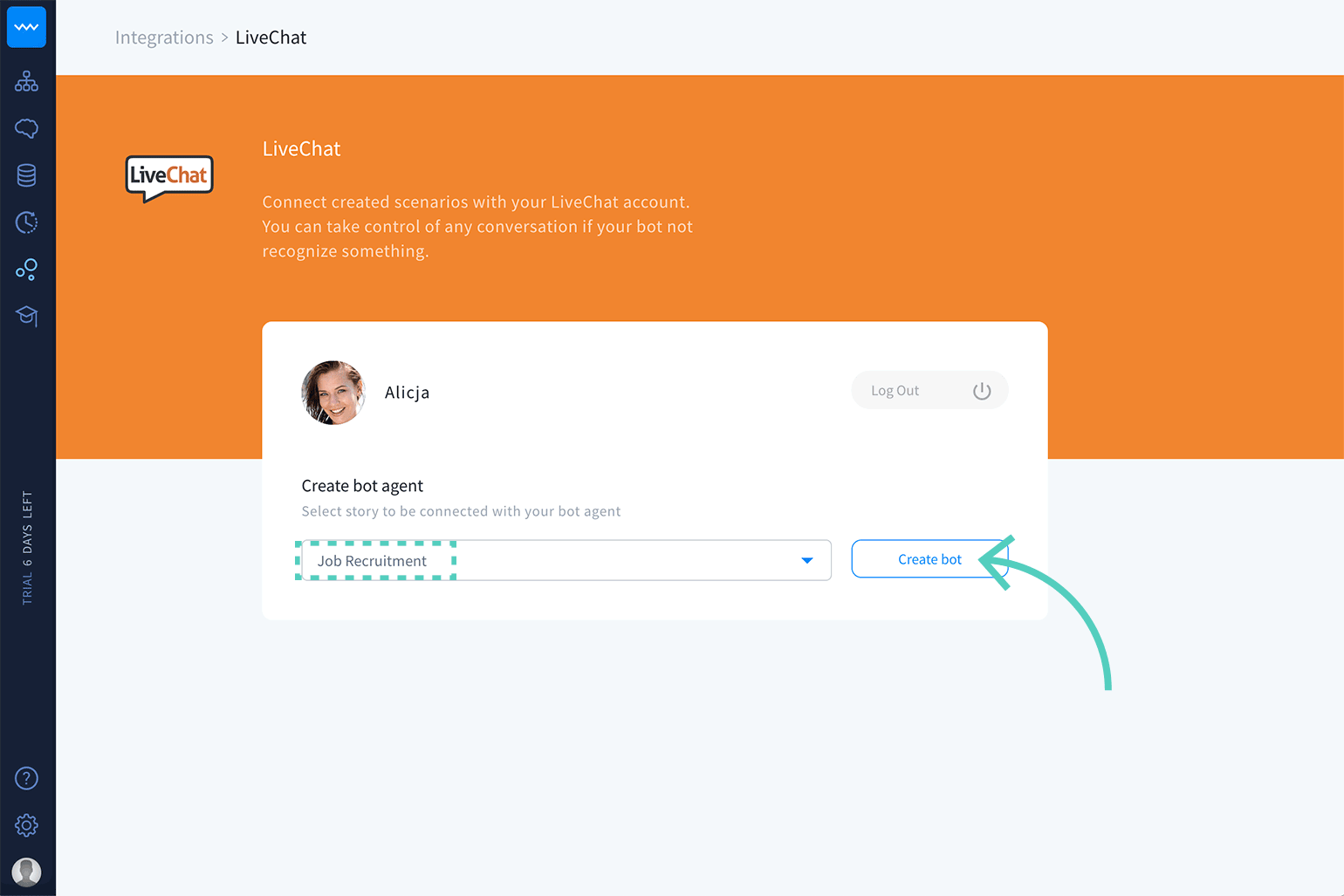 Create a bot in LiveChat