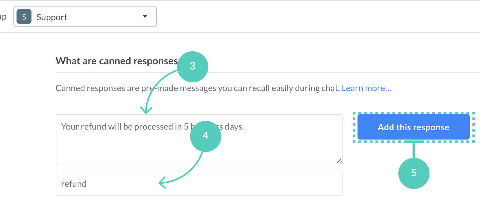 Create a group specific canned message
