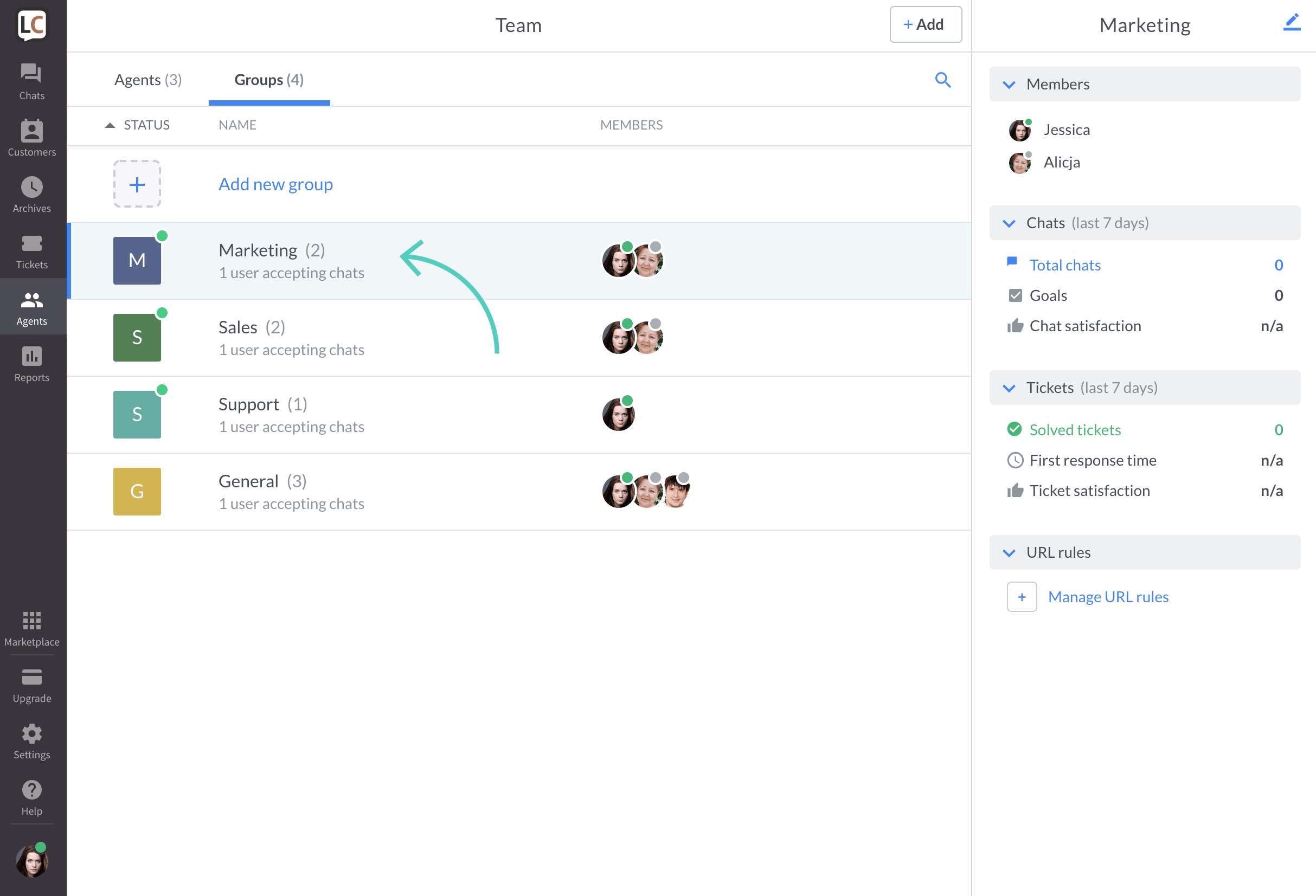 Delete a group in LiveChat