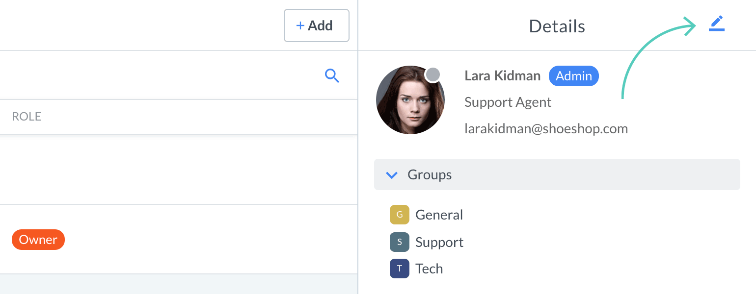 Edit agent profile in LiveChat