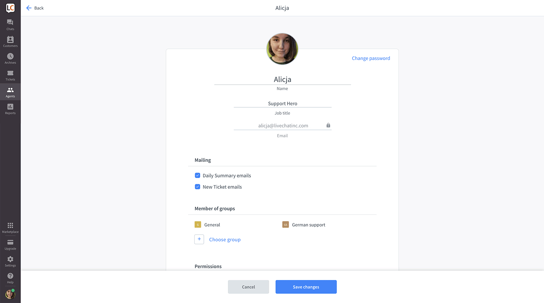 Edit agent's profile