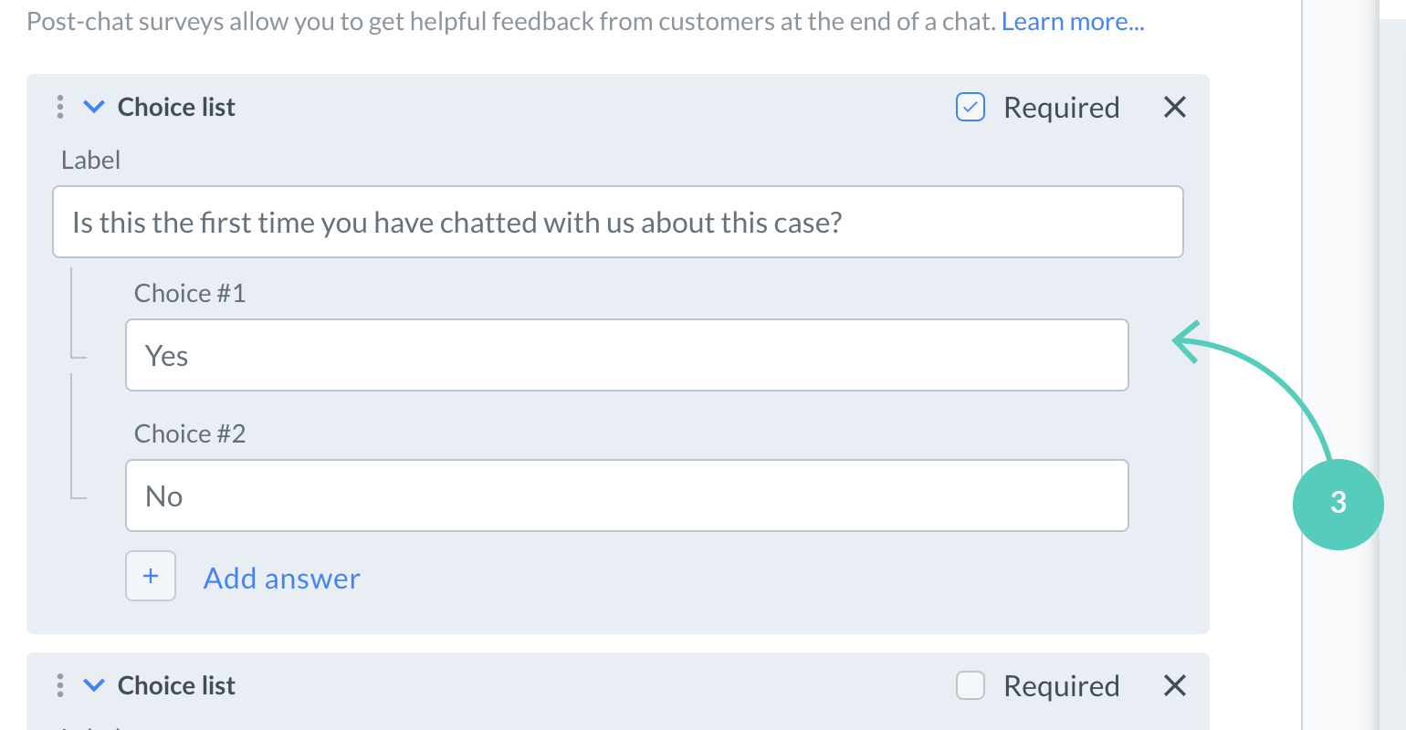 Fill in labels in post chat survey fields