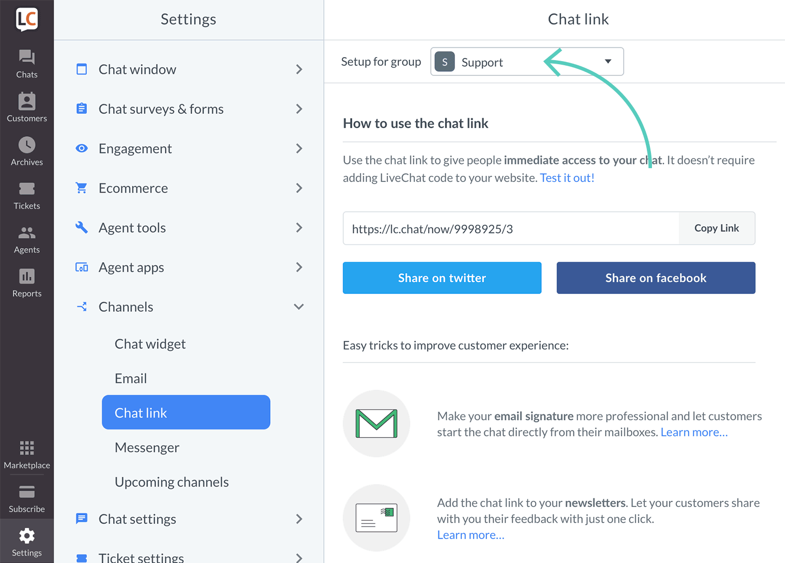 Get direct chat link for groups