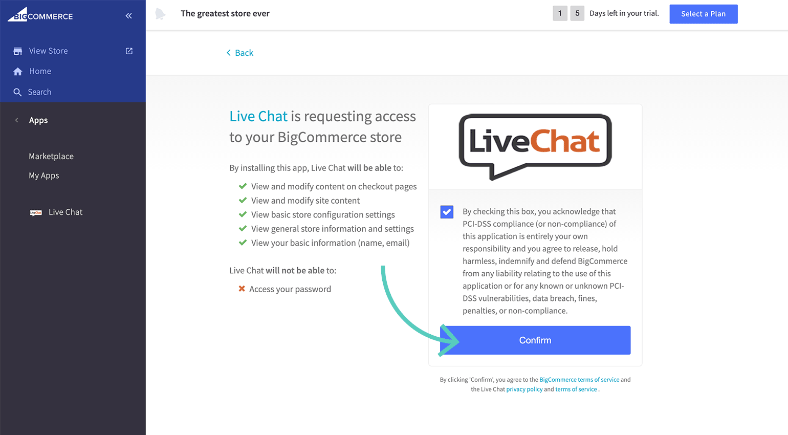 Give LiveChat permission to access BigCommerce data