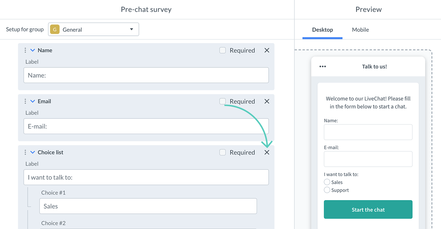 How to delete a field in pre-chat survey