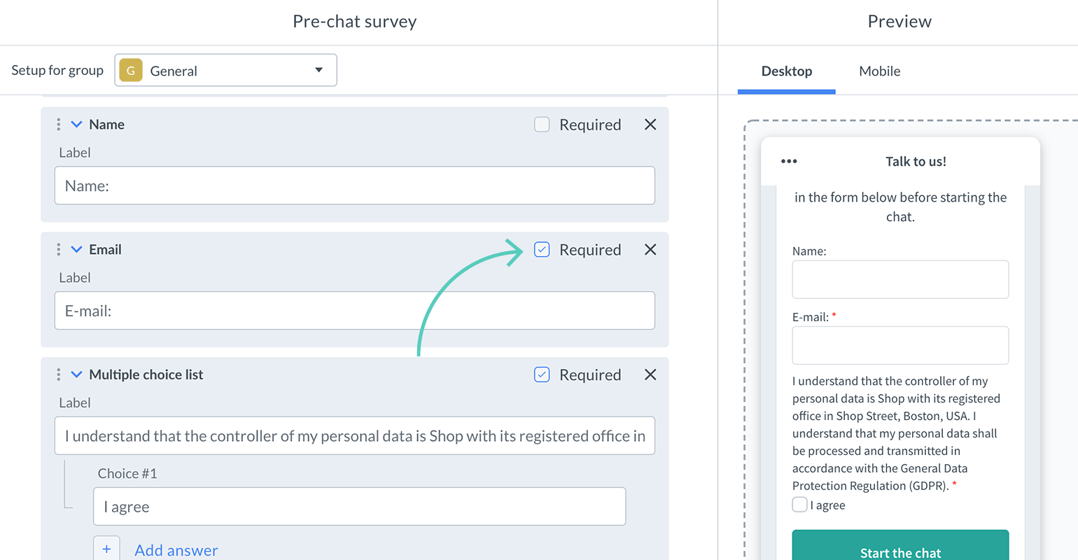 How to make a field required in pre-chat survey