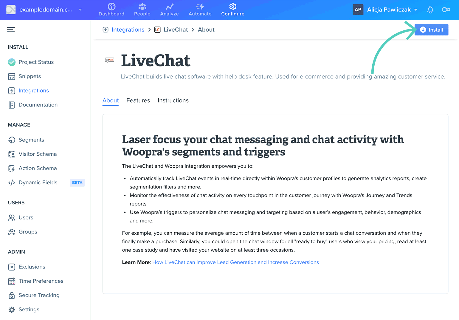 Install LiveChat integration