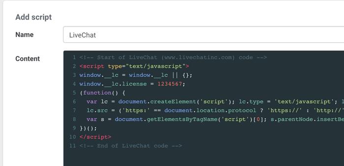 Paste Javascript into Landingi