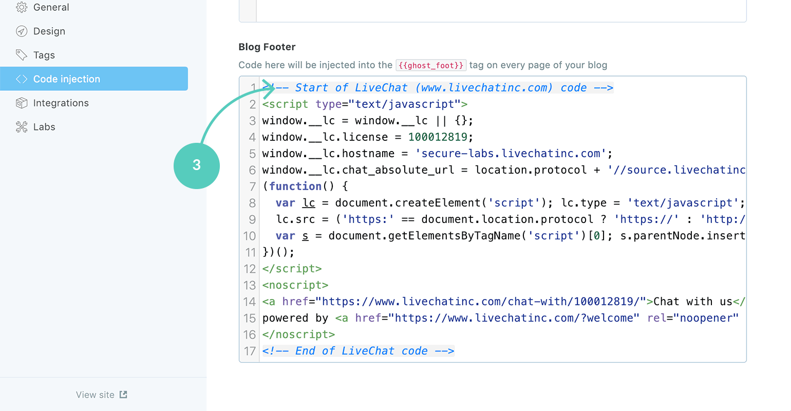 LiveChat + Ghost: paste the code snippet into the Blog Footer