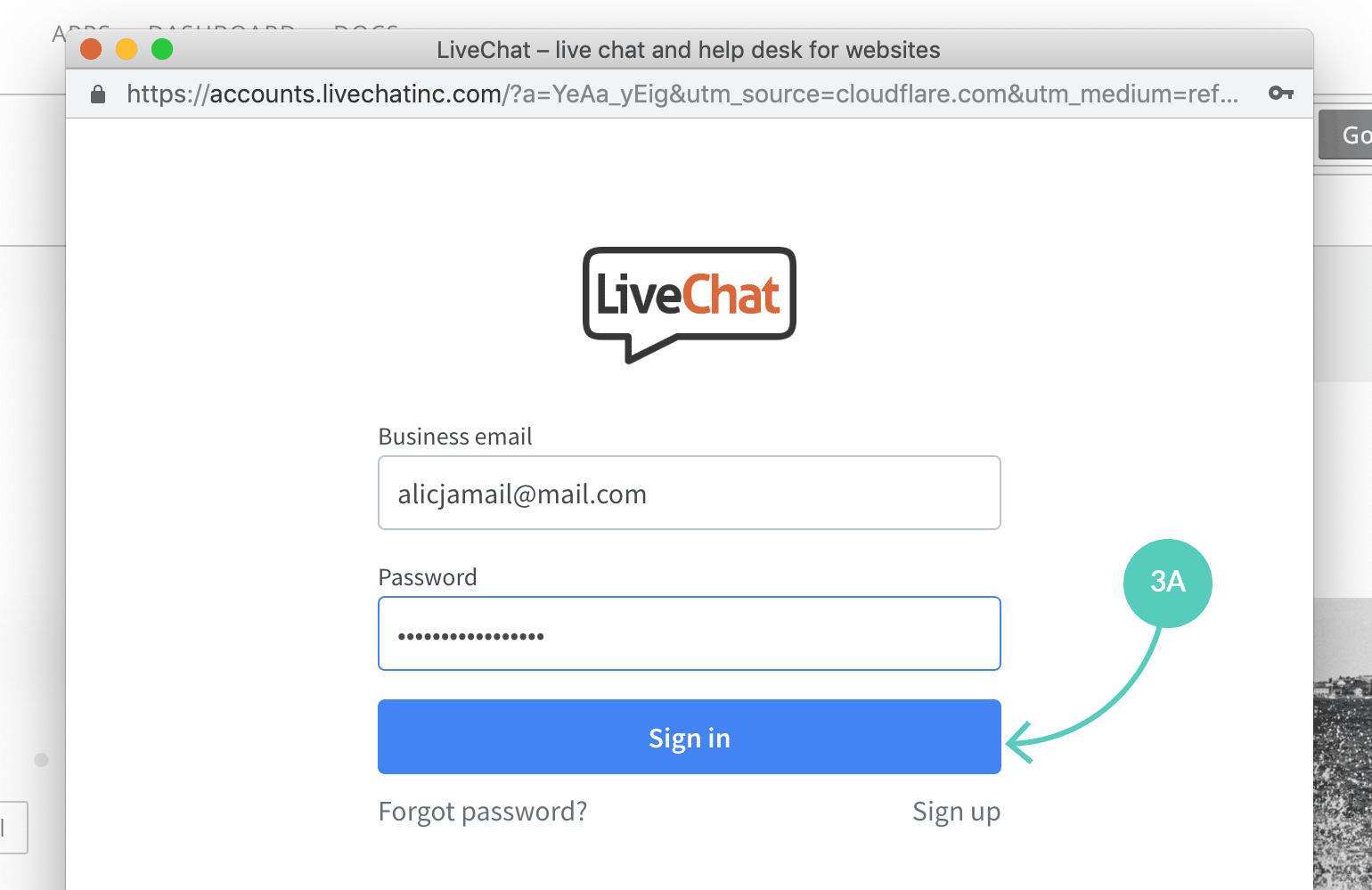 LiveChat sign in page