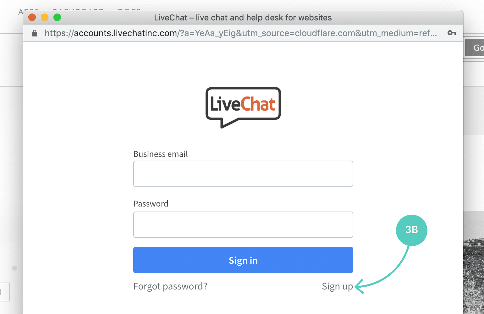 LiveChat sign up page