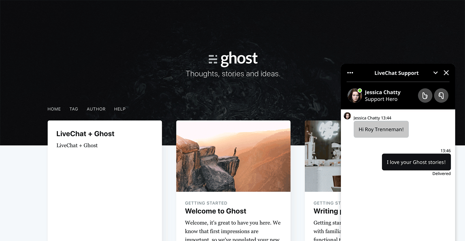 LiveChat widget on Ghost website