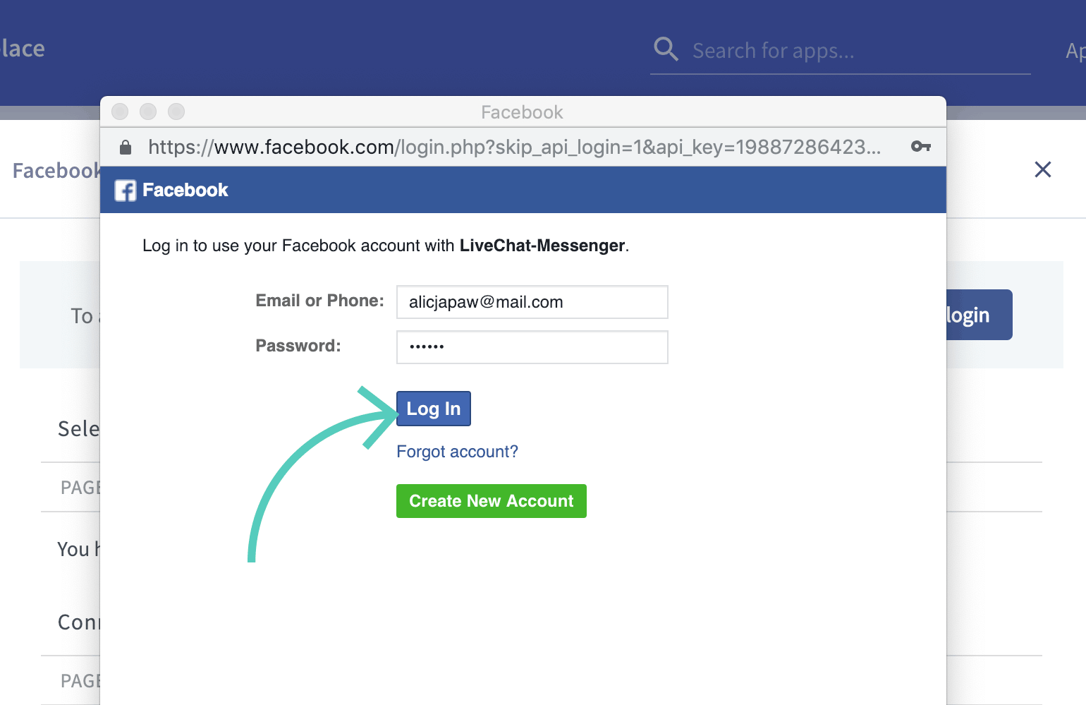 Log in with your Facebook credentials
