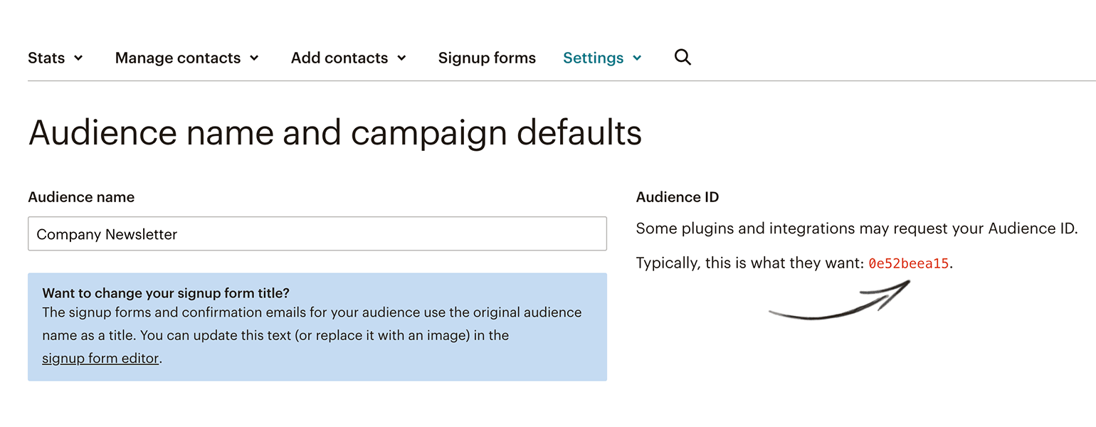 Mailchimp audience id