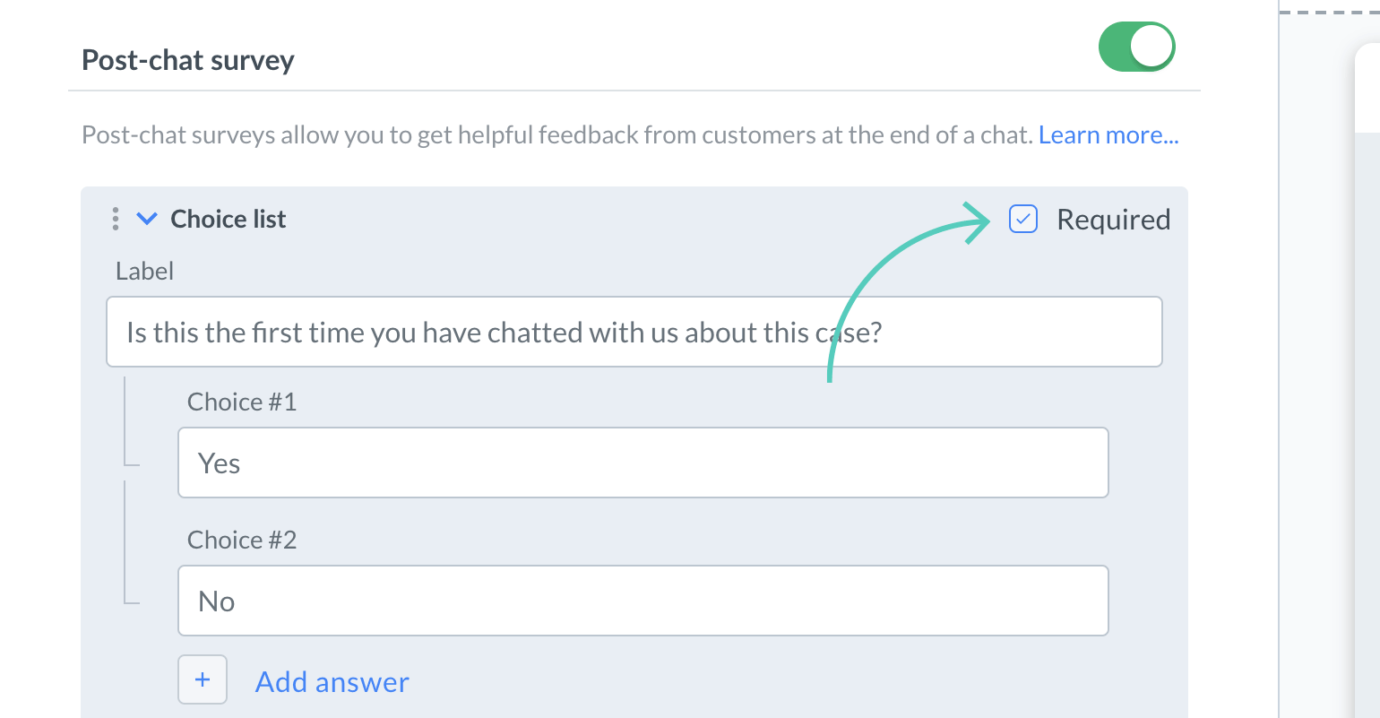Make a field required in post-chat survey