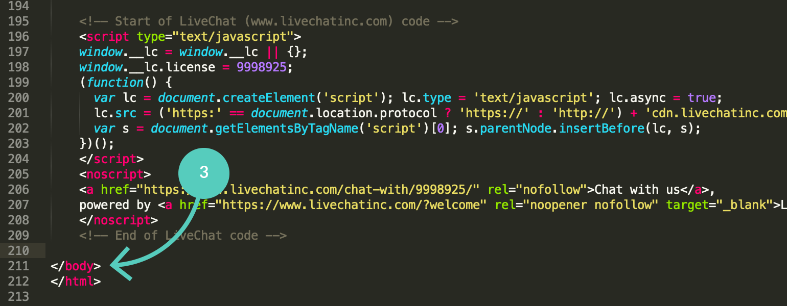 Paste LiveChat code snippet before the body tag