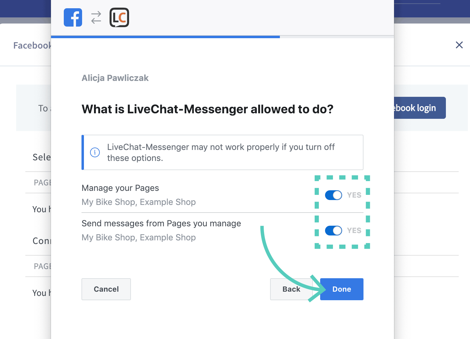 Permission to manage your Facebook pages