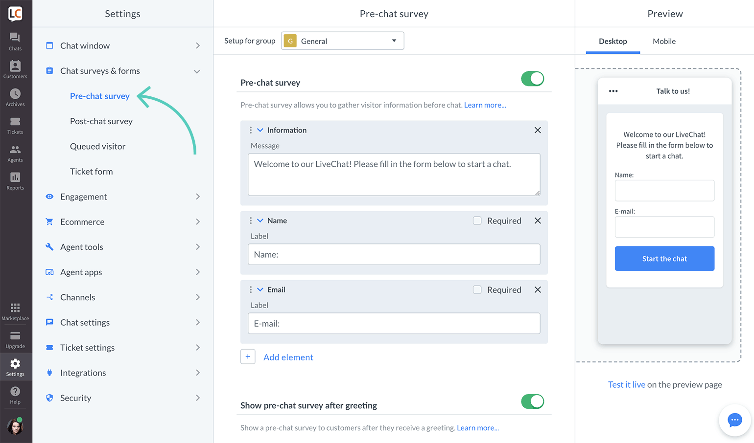 Pre-chat survey settings in LiveChat