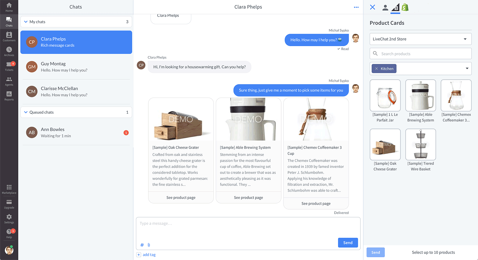Product card view in LiveChat