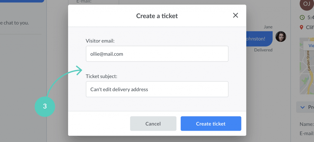 Provide visitor email and ticket subject