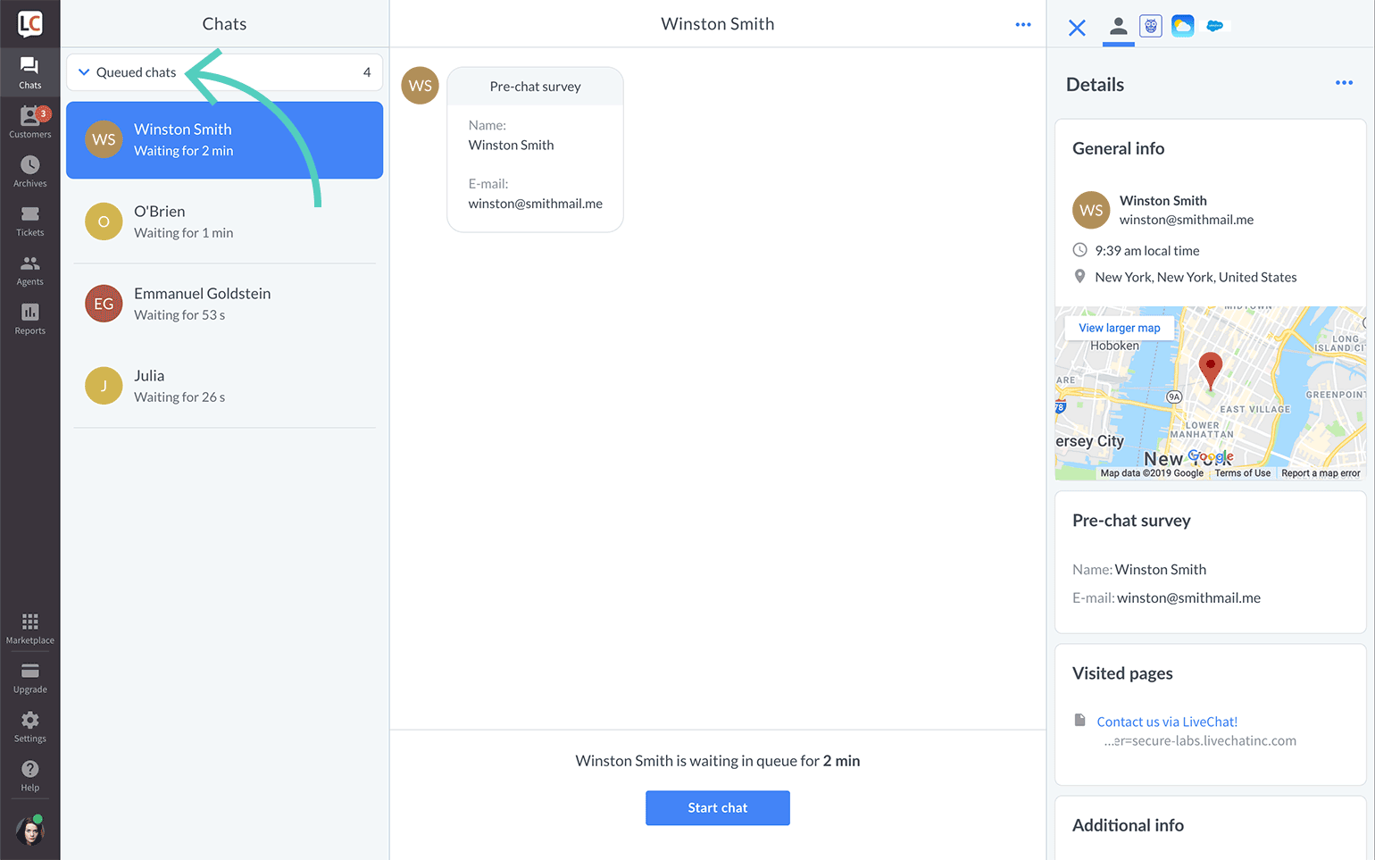 Start a chat from the queue