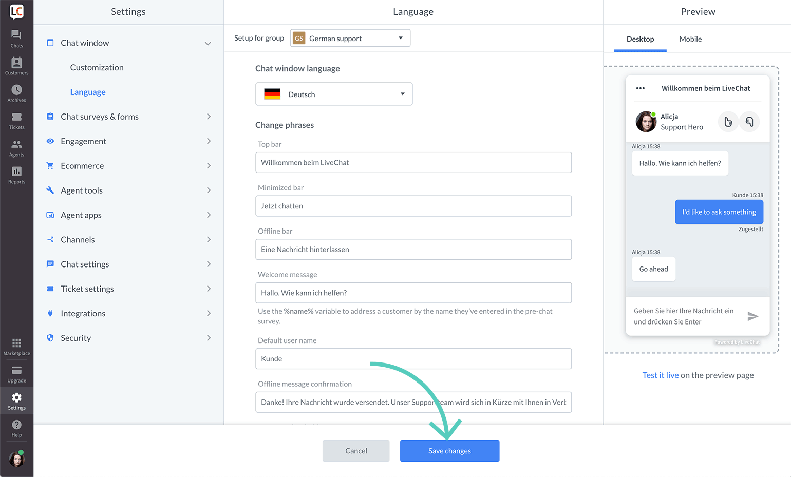 Save changes made to a group language settings