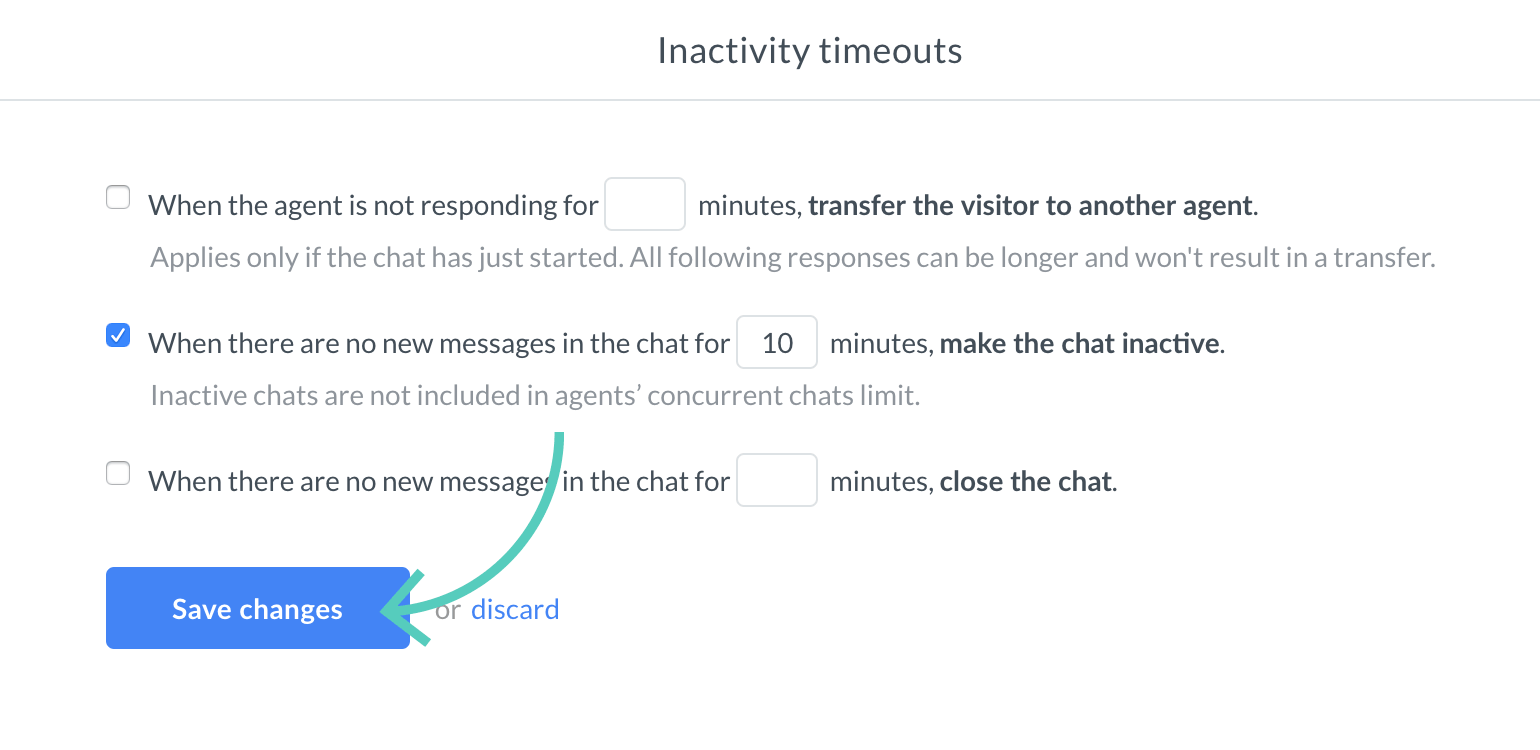 Save changes made to inactivity timeout settings