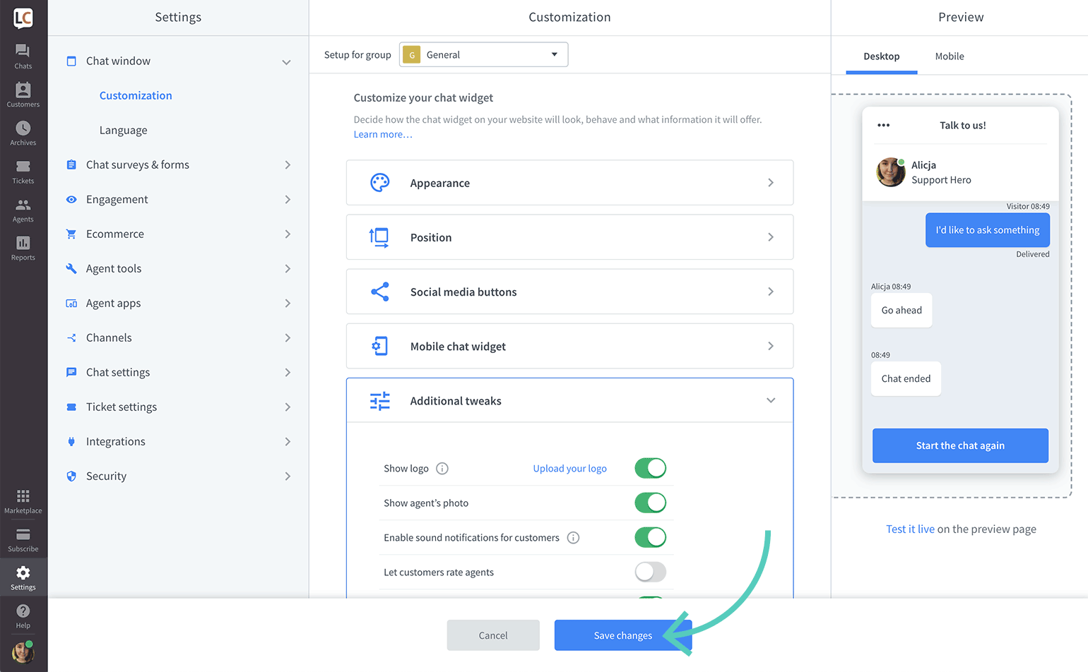 Save changes made to logo in LiveChat settings