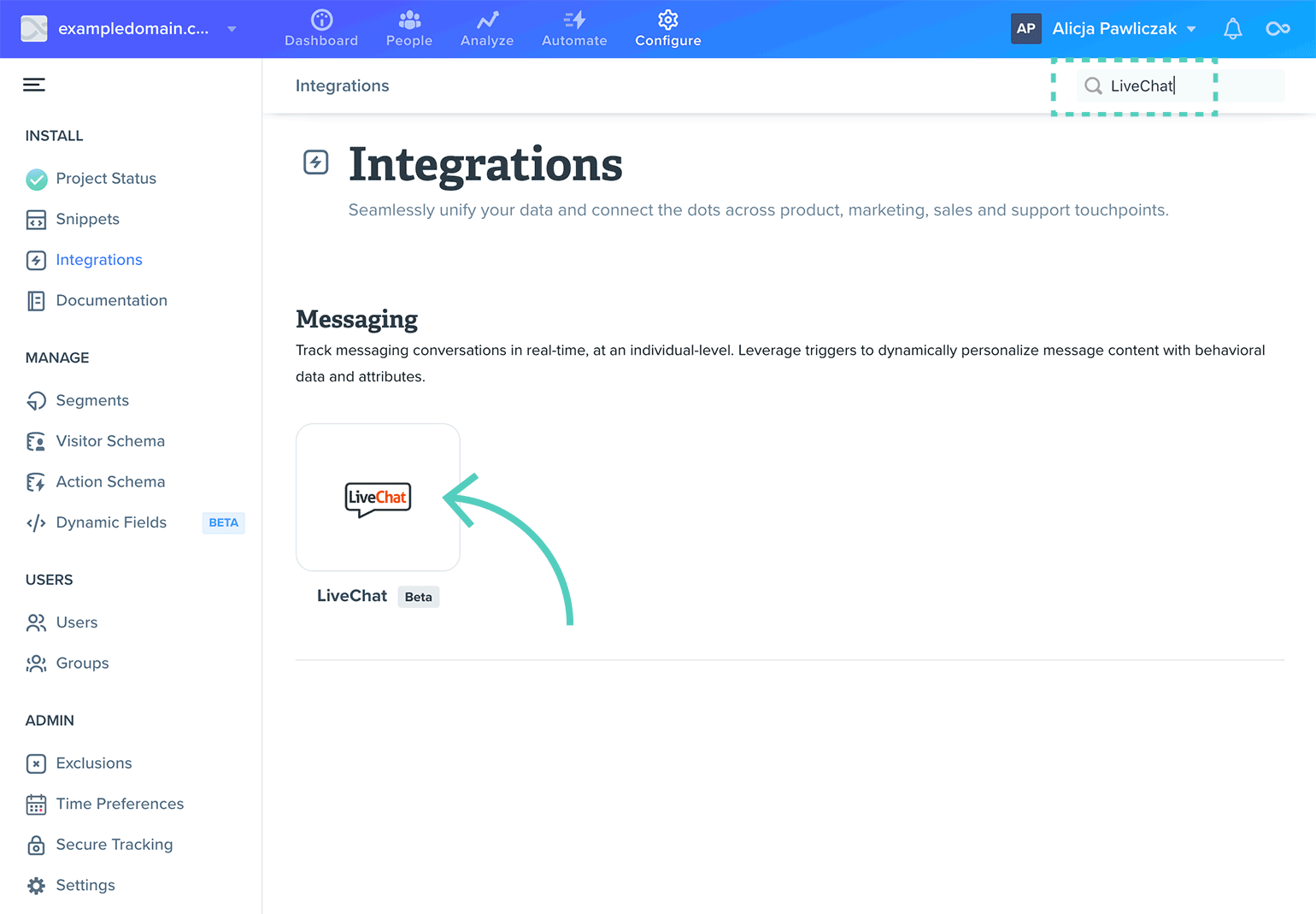 Search for LiveChat in Woopra integrations tab