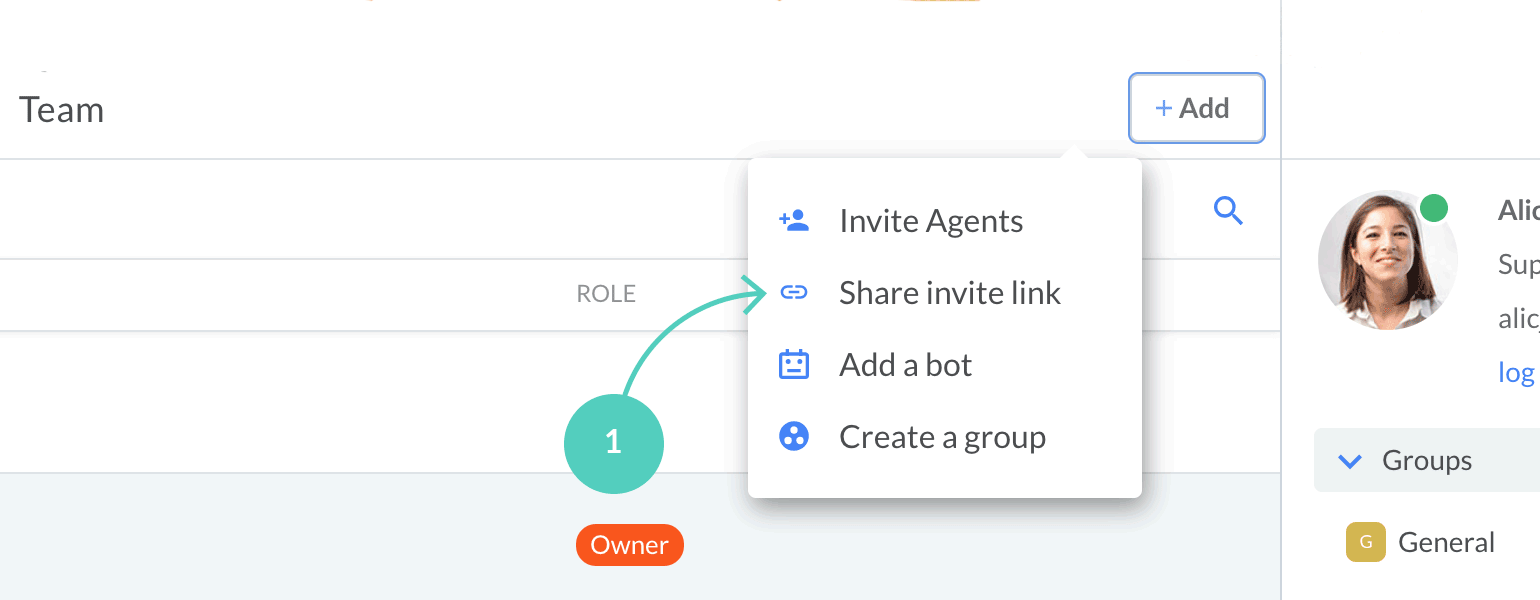 Select share invite link