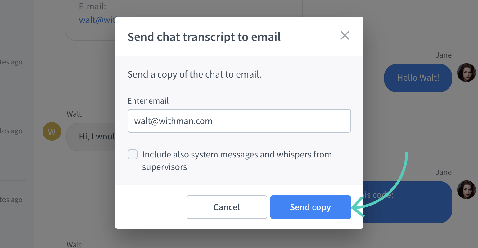 Send copy of chat transcript button