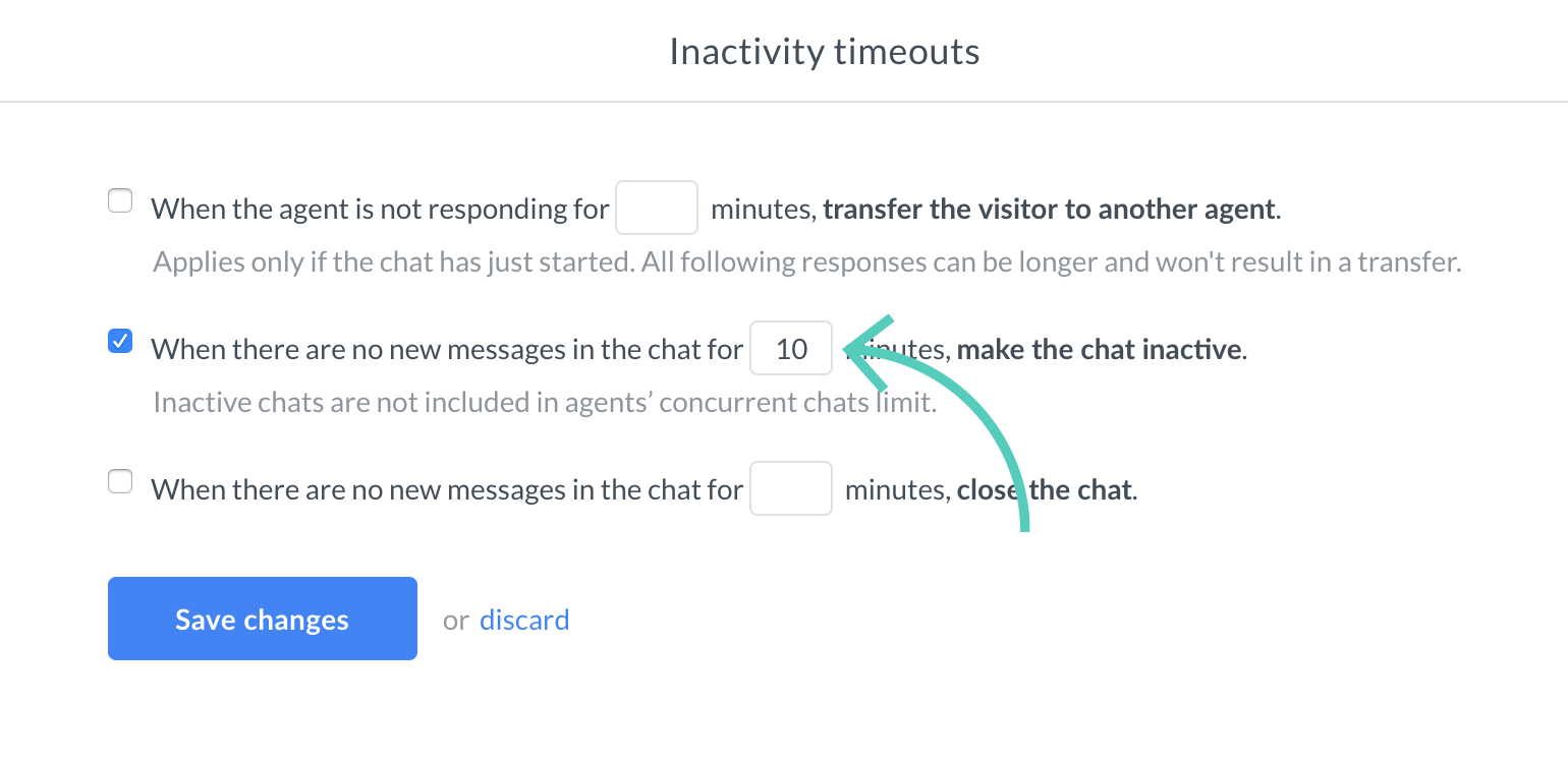 Set the time for inactivity timeout