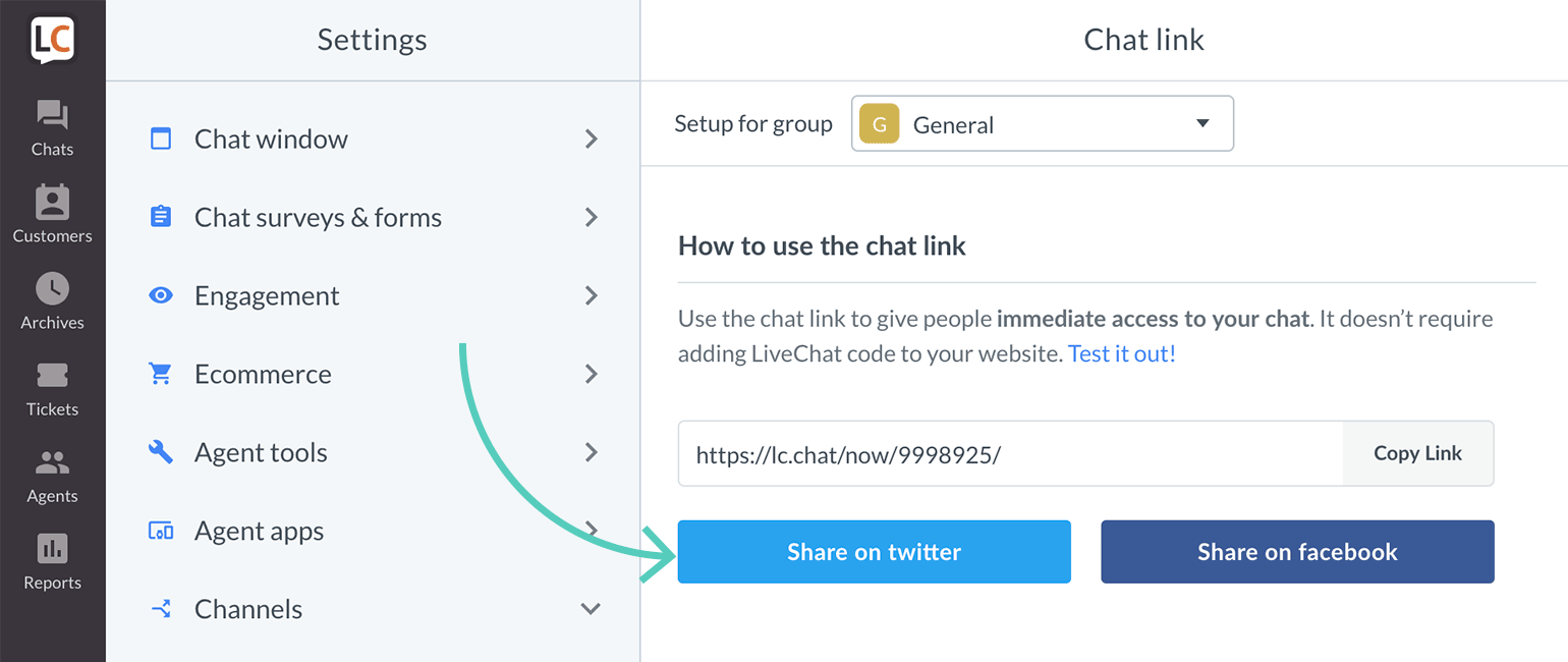 Share LiveChat link on Twitter