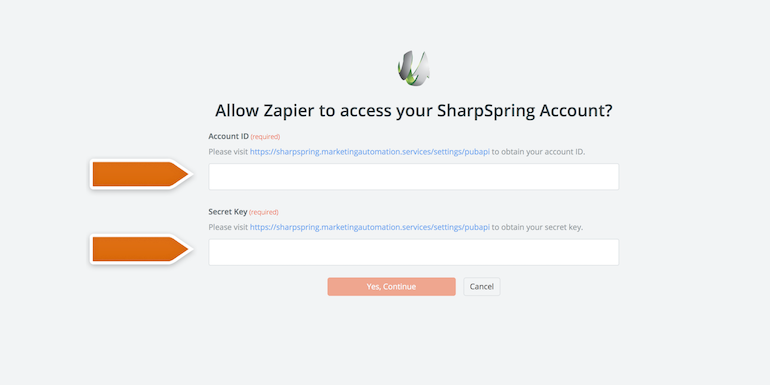 Authorizing application in Zapier - SharpSpring