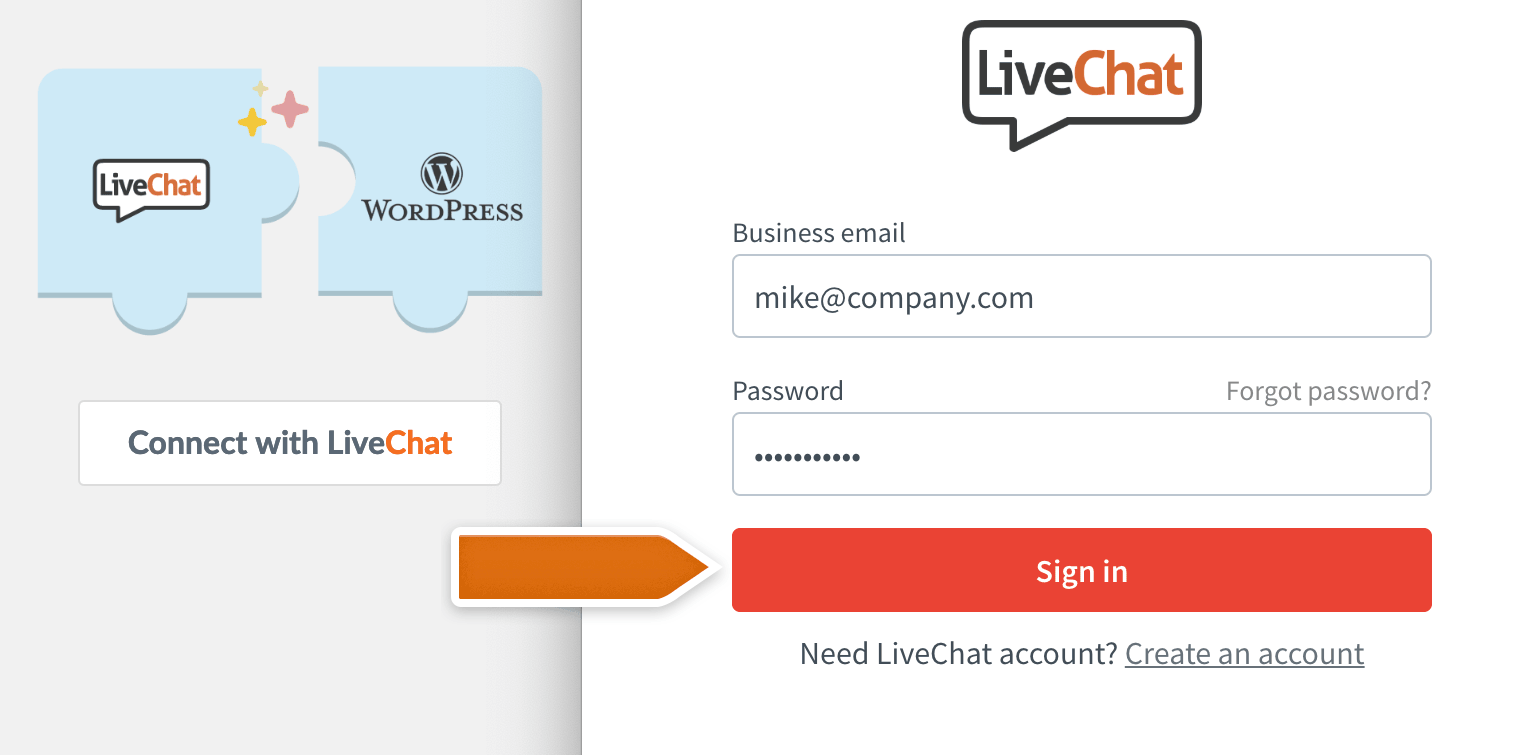 Sign in to your LiveChat account