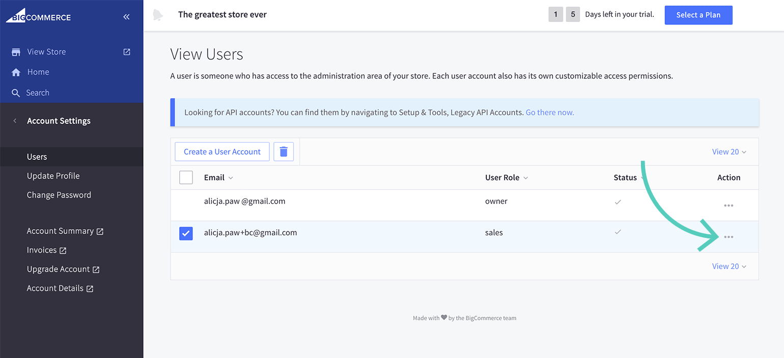 User settings in BigCommerce