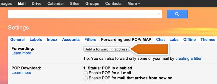 Adding a forwarding address